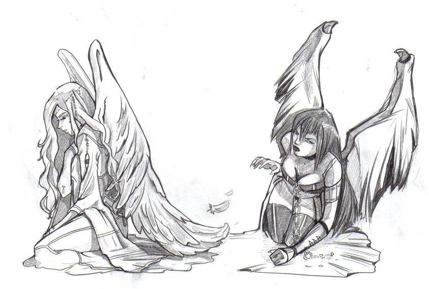 Dessin - Dessin ange noir et blanc ...
